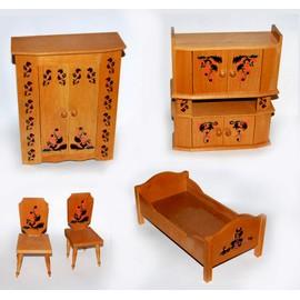 lot meubles de poup e ann e 80 en bois style polonais achat et vente. Black Bedroom Furniture Sets. Home Design Ideas