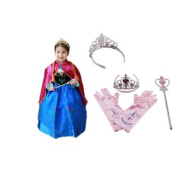 Lot reine des neiges robe anna avec cape 3 accessoires rose diad me baguette gants taille 2 - Robe anna reine des neiges ...