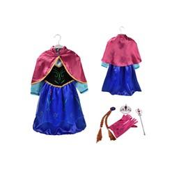 lot reine des neiges robe anna avec cape 4 accessoires fushia diad me baguette gants cheveux. Black Bedroom Furniture Sets. Home Design Ideas