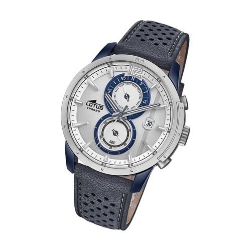 lotus montre homme chronographe montre quartz khrono bracelet en cuir bleu ul18367 1. Black Bedroom Furniture Sets. Home Design Ideas