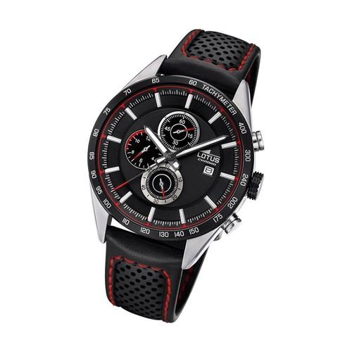 lotus montre homme chronographe montre quartz khrono bracelet en cuir noir ul18370 4. Black Bedroom Furniture Sets. Home Design Ideas