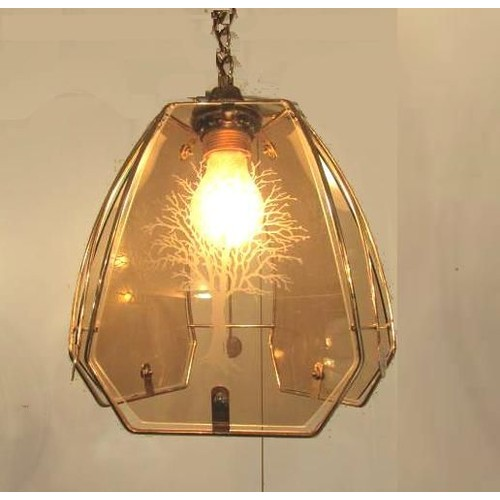 Luminaire lustre suspension plafonnier verre serigraphie for Luminaire suspension ampoule