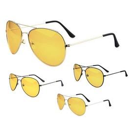 lunettes conduite de nuit vision nocturne verres jaunes anti blouissement m tal. Black Bedroom Furniture Sets. Home Design Ideas