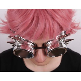 Lunettes De Soleil Steampunk Aviateur Noires Rondes Plastique Pointes Piques Plastique Vis Métal Verres Doubles Dévissables Costume Cosplay Mode Style Gothique Punk Black Sugar Boutique Cosplay Paris 8eYsVrwwnN