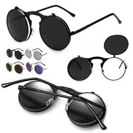 lunettes de soleil steampunk verres rabattables rondes vintage r tro homme femme. Black Bedroom Furniture Sets. Home Design Ideas