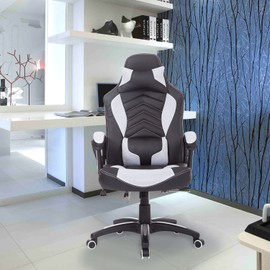 Luxe Fauteuil Chaise De Bureau Gamer Fonction Massage Chauffage Integree Dossier Inclinable Blanc