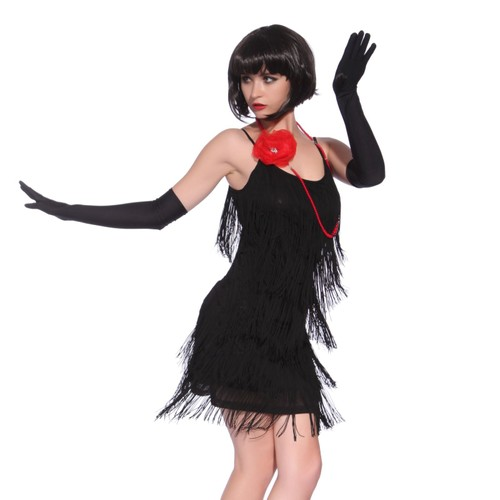 m 34 36 noir maboobie robe de soiree fete dance a frange. Black Bedroom Furniture Sets. Home Design Ideas