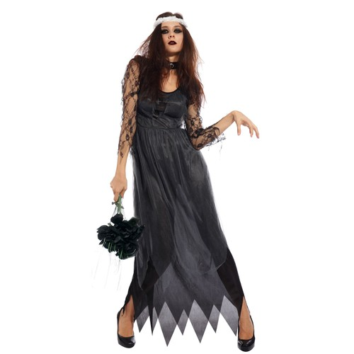 maboobie l xl 40 44 d guisement femmes costume halloween mari e fantome noir zombie thriller. Black Bedroom Furniture Sets. Home Design Ideas