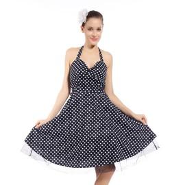 Maboobie m l robe retro sans manche pin up annee 40 50 60 swing polka ete soiree noir a pois - Pin up annee 40 ...