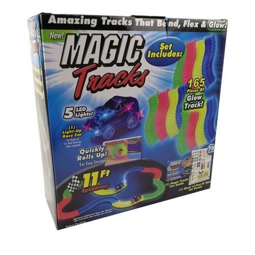 magic tracks bend flex glow dans le dark assembly toy 165pcs race track 1pc led car cadeau. Black Bedroom Furniture Sets. Home Design Ideas