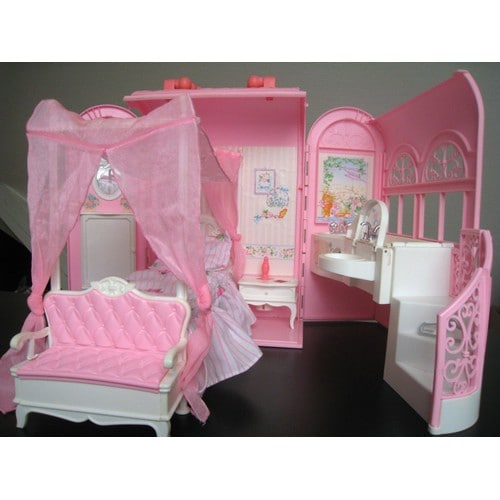 maison barbie malette mattel 1998 la jolie chambre neuf et. Black Bedroom Furniture Sets. Home Design Ideas