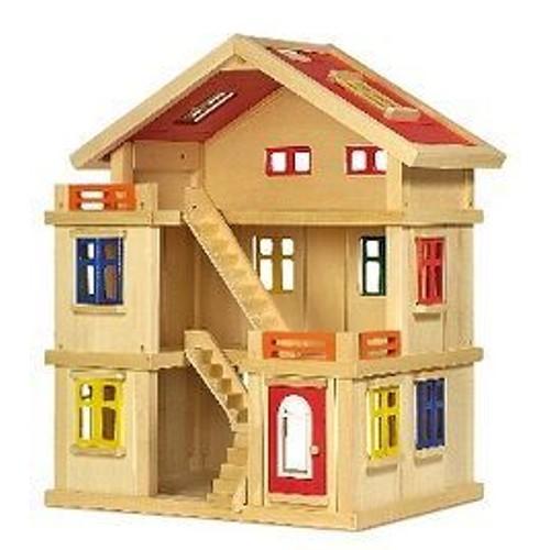 maison poup e en bois grande taille achat et vente priceminister rakuten. Black Bedroom Furniture Sets. Home Design Ideas