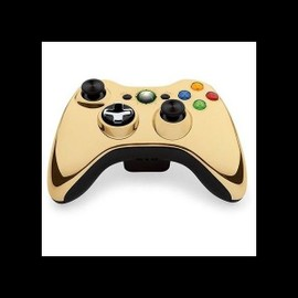 Manette sans fil chrome or xbox 360 pas cher priceminister for Manette xbox 360 pas cher sans fil