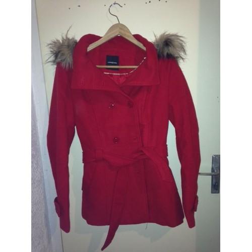 manteau cache cache uni et fausse fourrure l rouge achat. Black Bedroom Furniture Sets. Home Design Ideas