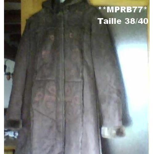 Manteau long cuir retourne femme