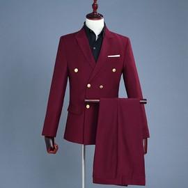 Slim Pantalon Pièces Et Manteau Blazer Homme Costume Vin Rouge 2 OPuTlkXwZi