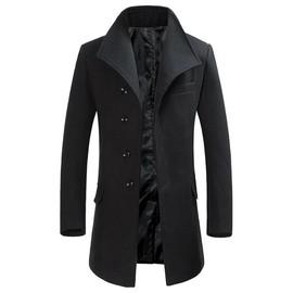 manteau slim homme en laine casual pardessus col montant mode v tement d 39 hiver. Black Bedroom Furniture Sets. Home Design Ideas