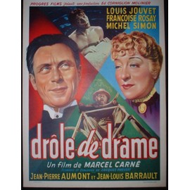 marcel carne drole de drame film 1937 affiche de cinema belge des ann es 50 format 35 55. Black Bedroom Furniture Sets. Home Design Ideas