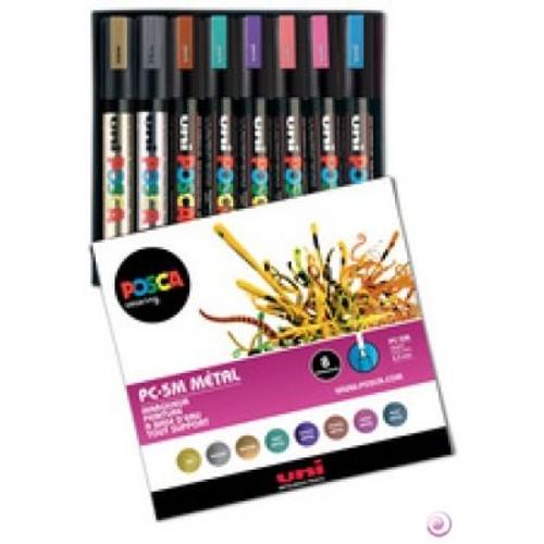 Marqueur peinture posca pc 5m tui de 8 assortis uni ball - Peinture resistant al eau ...