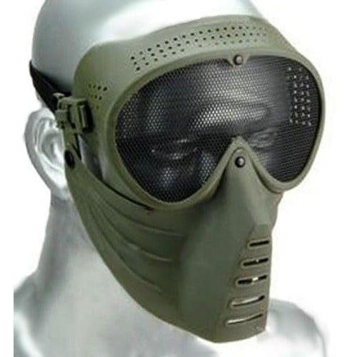 masque de protection visage avec lunettes grille pour airsoft couleur vert kaki grillage. Black Bedroom Furniture Sets. Home Design Ideas