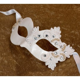 Thorny Fate | Lux Masque-venitien-papier-mache-venise-femme-blanc-cristaux-perles-swarovski-898926821_ML