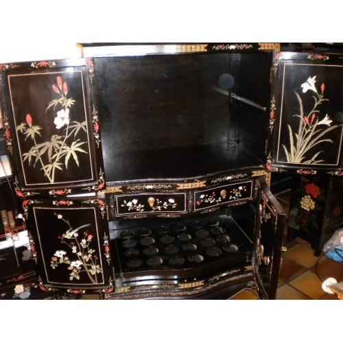 meuble chinois laqu noir 1 48x95x60cm d coration bar buffet meuble tv. Black Bedroom Furniture Sets. Home Design Ideas
