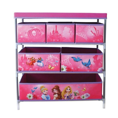meuble de rangement metal et tissu 6 cases princesses disney enfants. Black Bedroom Furniture Sets. Home Design Ideas
