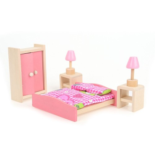 meuble poup e mobilier maison d ette bois jouet enfant barbie chambre coucher. Black Bedroom Furniture Sets. Home Design Ideas