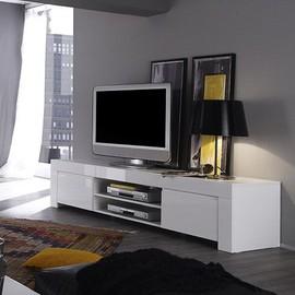 Meuble Tv Blanc Laque Design Paula Achat Vente De Mobilier Rakuten