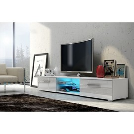 meuble tv edith led blanc blanc brillant achat et vente. Black Bedroom Furniture Sets. Home Design Ideas