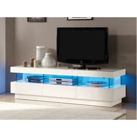 meuble tv fabio mdf laqu blanc leds 3 tiroirs 3 niches. Black Bedroom Furniture Sets. Home Design Ideas