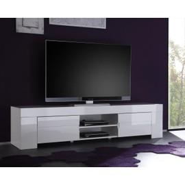 Meuble Tv Hifi Blanc Laque Design Eleonore Achat Et Vente Rakuten