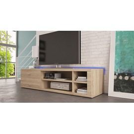 meuble tv ivo led ch ne clair marron pas cher. Black Bedroom Furniture Sets. Home Design Ideas