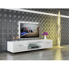 meuble tv suspendu giuliano blanc laqu et blanc mat 160 cm. Black Bedroom Furniture Sets. Home Design Ideas