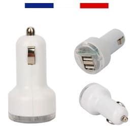 micro chargeur double usb universel de voiture pour prise allume cigare 5v 2 1a blanc. Black Bedroom Furniture Sets. Home Design Ideas