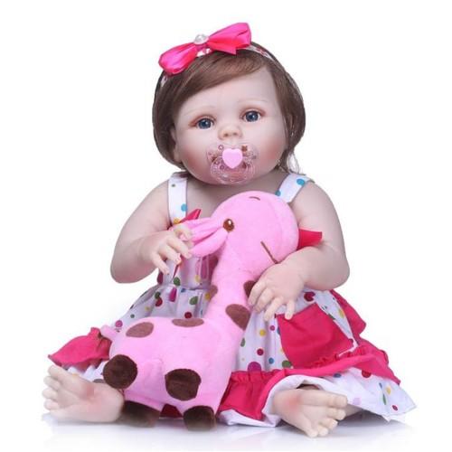 67bb7939acc30 Mignon 57 Cm Bébé Reborn Fille Pleine Silicone Corps Reborn Poupées Belle  Enfants