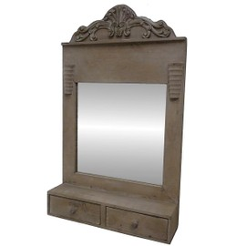 miroir entr e avec 2 tiroirs et tablette de support meuble tag re avec glace mural en bois. Black Bedroom Furniture Sets. Home Design Ideas