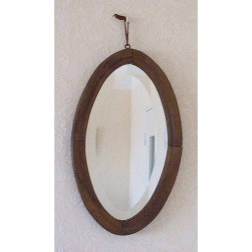 Miroir ovale ancien en bois massif pas cher priceminister for Miroir en bois pas cher