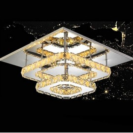 Moderne Crystal Led Plafonniers Luminaire Carre Surface Montage