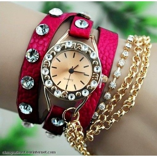 montre bijou femme fille fashion tendance clubing bling swag strass chaine bracelet cuir. Black Bedroom Furniture Sets. Home Design Ideas