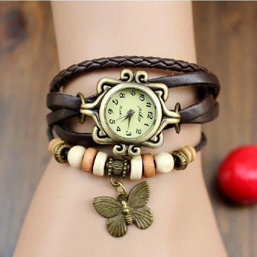 Souvent Bracelet Femme Marron / Fille Rétro / Vintage Cuir Avec Perles Et  PD62