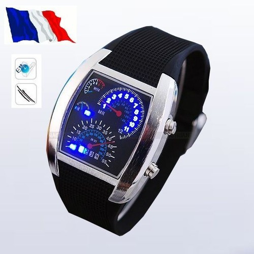 montre digital led bleu tableau de bord voiture sport bracelet caoutchouc. Black Bedroom Furniture Sets. Home Design Ideas