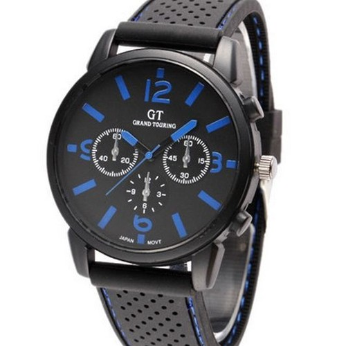 montre homme sport quartz grand touring gt racing bracelet silicone cadran bleu. Black Bedroom Furniture Sets. Home Design Ideas