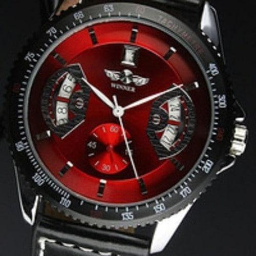 montre homme winner rouge noir mecanique automatique special cadeaux noel garantie 1 an. Black Bedroom Furniture Sets. Home Design Ideas