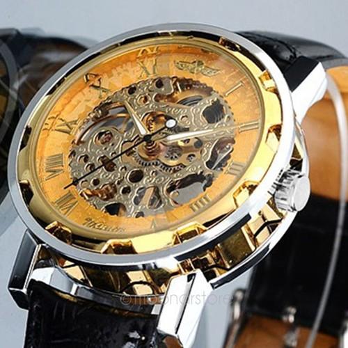 Montre Mixte Homme Ou Femme Mécanique Squelette Mécanisme Apparent Cadran  Doré Bracelet Noir 37454922df77