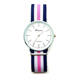 montre quartz bracelet tissu bleu blanc rose nato homme femme. Black Bedroom Furniture Sets. Home Design Ideas
