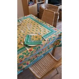 Petite annonce Nappe Beauville Fleurie Jaune Vert Dim 165x245 + 10 Serviettes État Neuf - 94000 CRETEIL