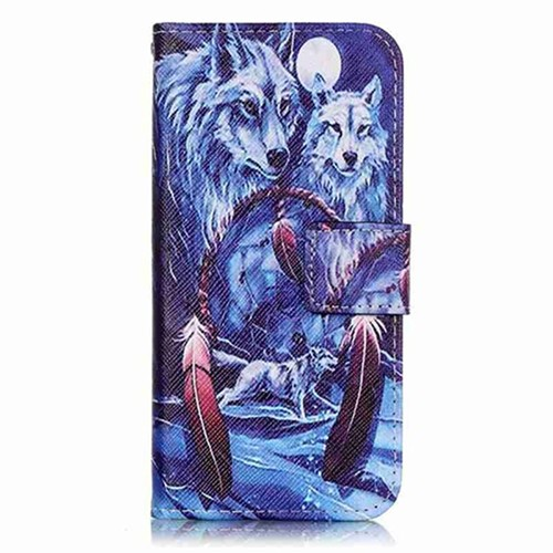 Neigeux wolf feather fente pour carte flip coque etui for Housse wiko sunny 2