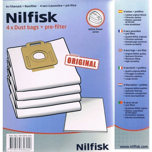sac aspirateur nilfisk power series dustbags 4 sacs poussi re pr filtre. Black Bedroom Furniture Sets. Home Design Ideas