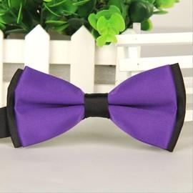 noeud papillon pour homme violet noir double couche 12 x 6 cm. Black Bedroom Furniture Sets. Home Design Ideas